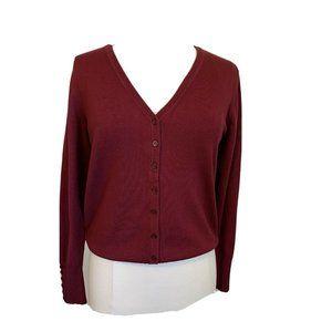 Women's Burgandy Open Front Knit Cardigan M L